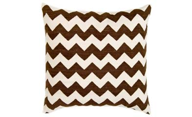 Brown and white chevron printed pillow from Madeline Weinrib Atelier