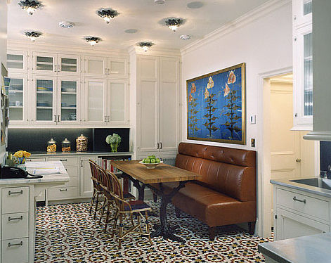 New York City Kitchen With Mexican Ceramic Tile Floor, White Drawers And  Cabinets And Leather