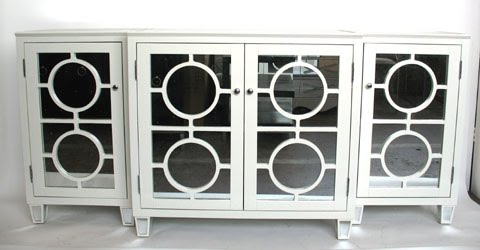 Three part lacquered wood cabinet with circle detailing and mirrored panels from C Bell Furnishing