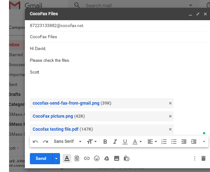 send fax from gmail with cocofax