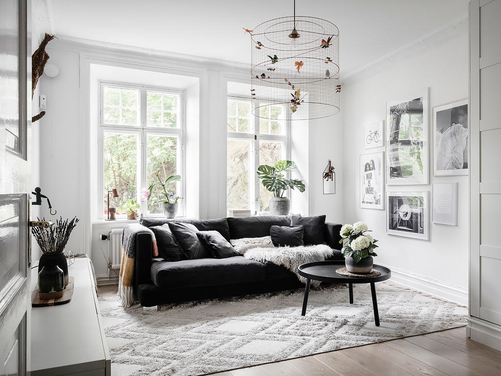 Contrasting living room space