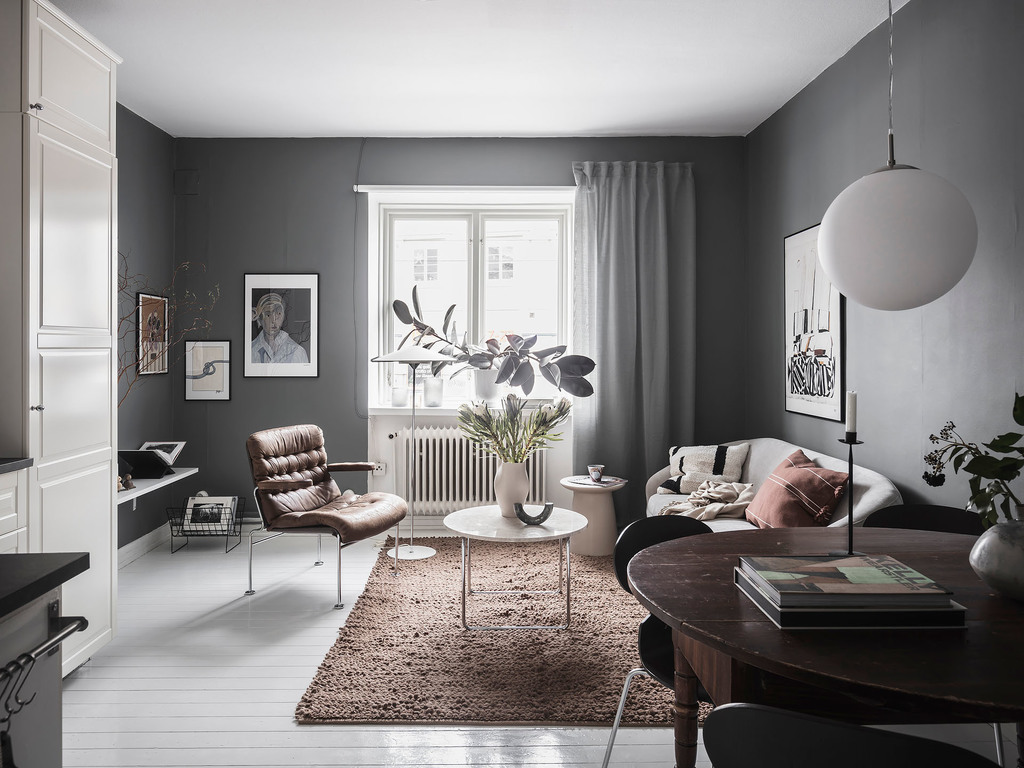 Stylish home with dark grey walls