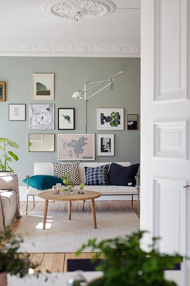 灰绿色北欧客厅