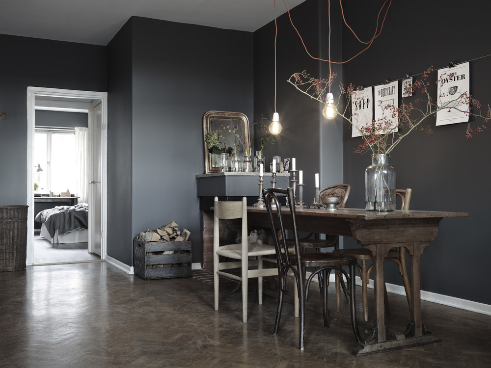 Dark Walls And A Mix Of Chairs COCO LAPINE DESIGNCOCO