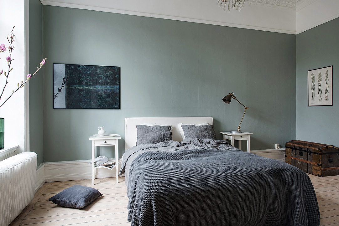 Jade Color Painted Bedroom with White Trim