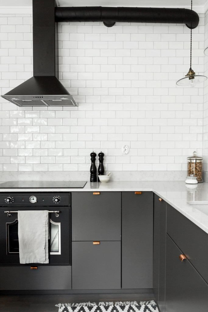 Grey Kitchen With Copper Handles Coco Lapine Designcoco Lapine Design