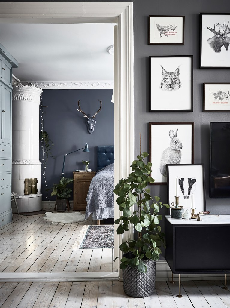 Blue bedroom and workspace combo - via Coco Lapine Design Blog