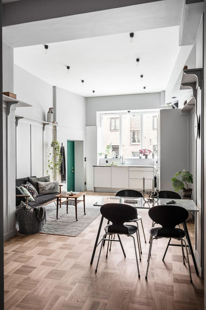 Grey home with green accents