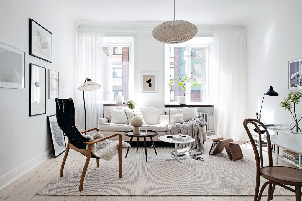 White home with dark wood accents
