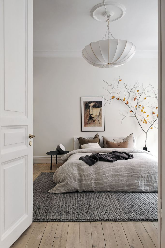 Bright bedroom with warm accents