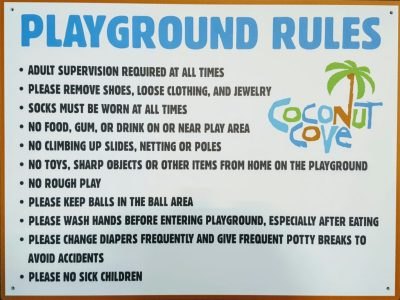 Coconut Cove Indoor Playground Rules