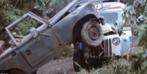 Bus crash in the film Romancing the Stone