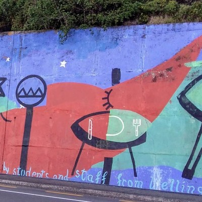 Mural at Balaena Bay - an example of street art in eastern Wellington
