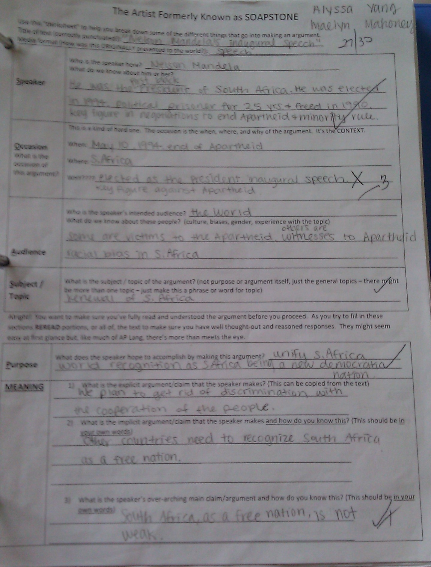Author S Purpose Worksheets