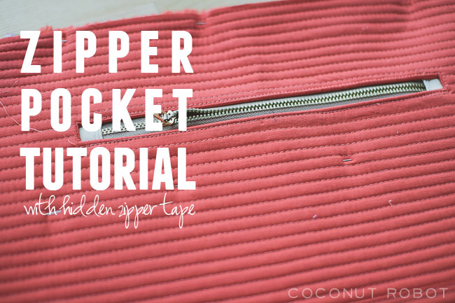 Zipper Pocket Tutorial (without the zipper tape showing)