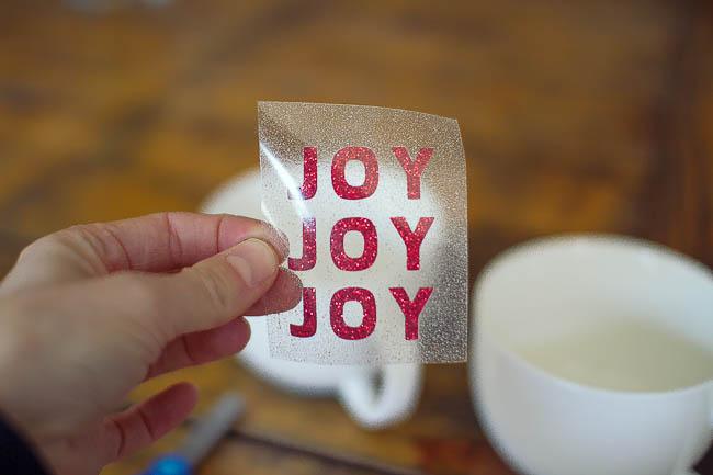 DIY Glitter Holiday Mugs 6