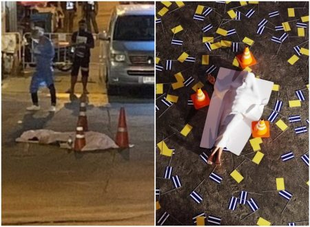 A file photo of a body left in front of Wat Bowonniwet in Bangkok's Phra Nakhon district on Tuesday night, at left, and an illustration by Uninspired by Current Events, at right.