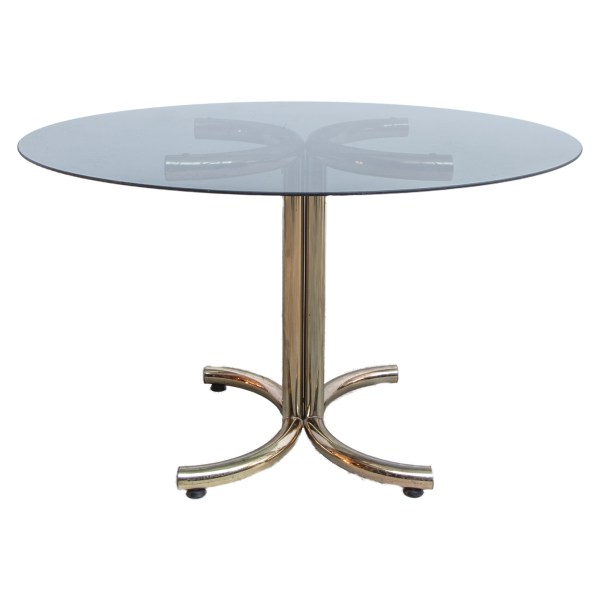 Mid-Century Brass and Smoked Glass Round Coffee Table