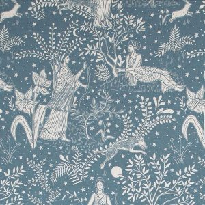 Curtain Fabric Upholstery Fabric Blue curtain fabric Cocoon Home Artemis