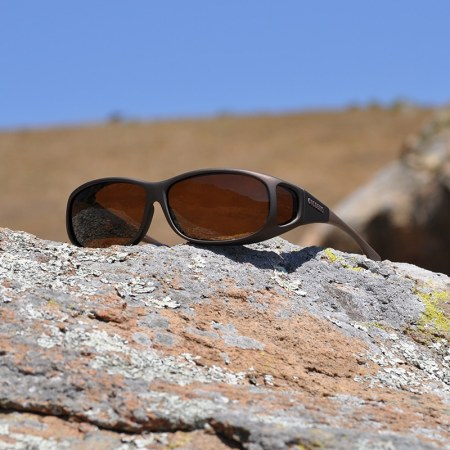 Medium Small fitover sunglasses with amber lenses