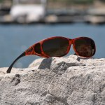 Tortoiseshell fitover sunglasses with amber