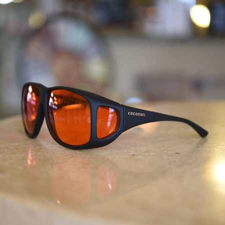 Aviator Cocoons fitover sunglasses with low vision orange lenses