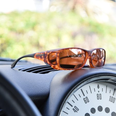 Tortoiseshell Cocoons fitover sunglasses with copper lenses