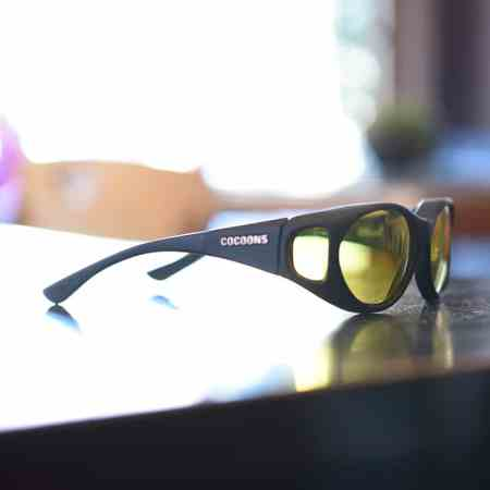 Low vision fitover sunglasses with lemon lenses