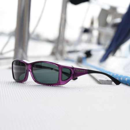 Amethyst Wide Line with a gray Polaré lens system from cocoons fitover sunglasses