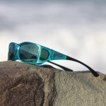 Aqua fitover sunglasses with gray lenses