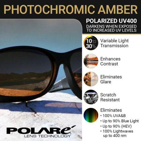 UV Activated Polarized Photochromic Amber Lens