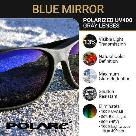 Polarized Gray Lens with Blue Mirror