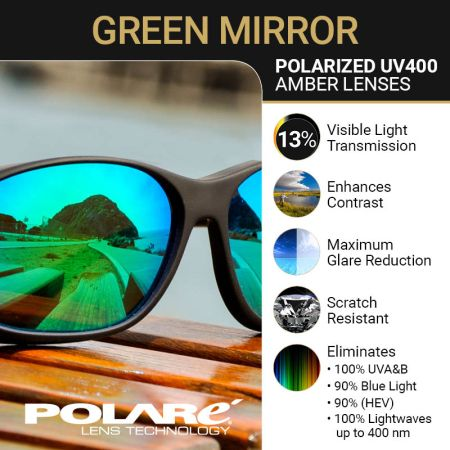 Polarized Amber Lens with Green Mirror