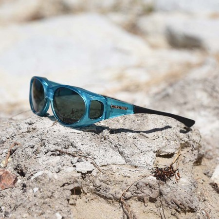 Aqua blue fitover sunglasses for bright days