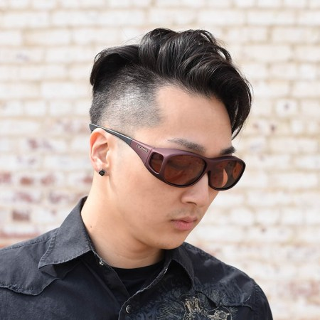 asian dude in burgundy fitover sunglasses