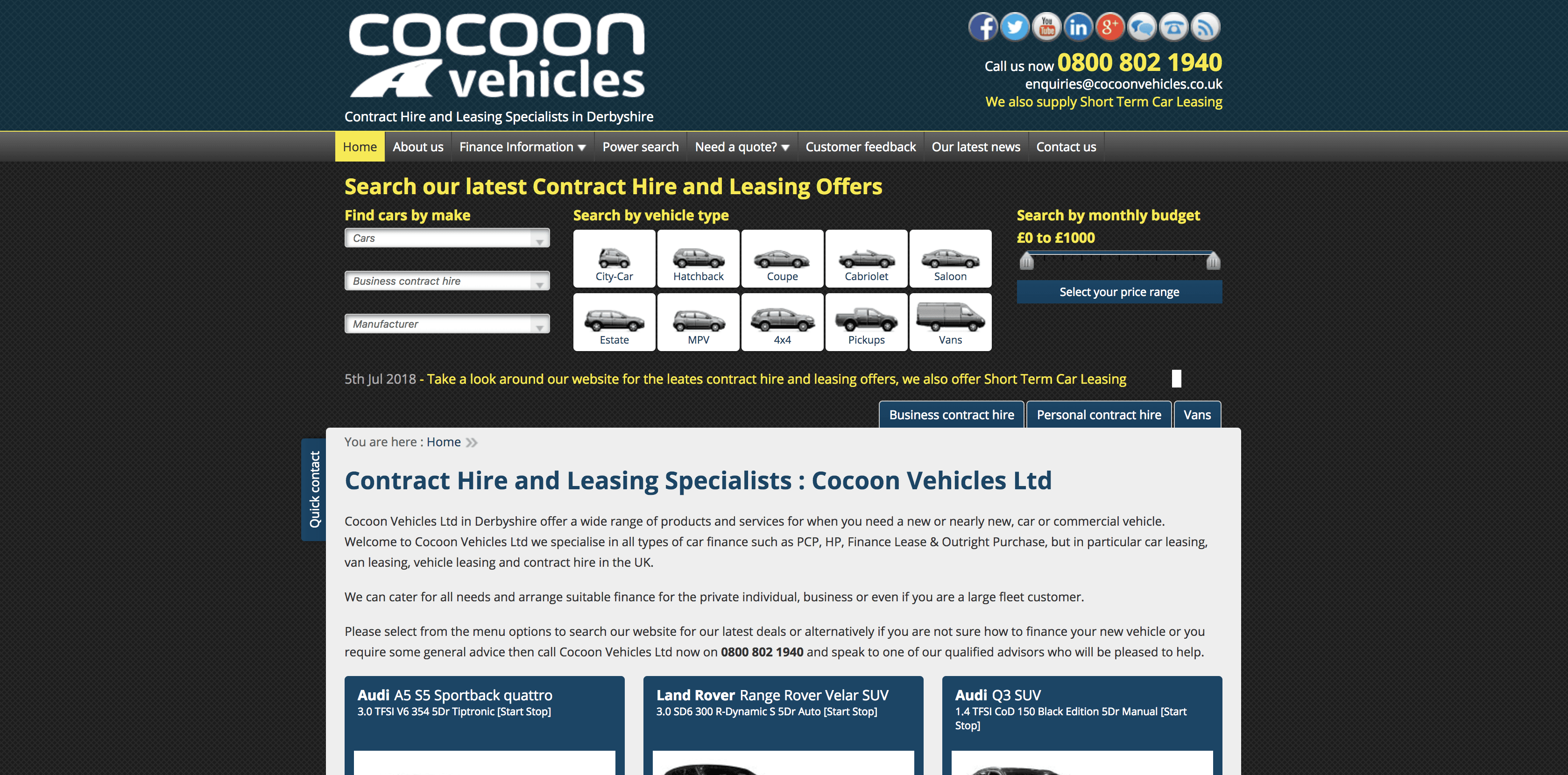 Cocoon Vehicles Short Term Leasing Offers website