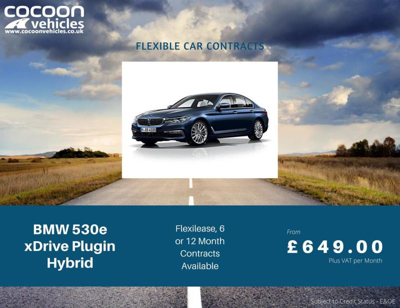 Last few available for delivery in February! The brilliant BMW 530e Plug-in Hybrid!  Available on a 6 month car lease, 12 month car lease of a month-to-month car lease.  Call us for more details!