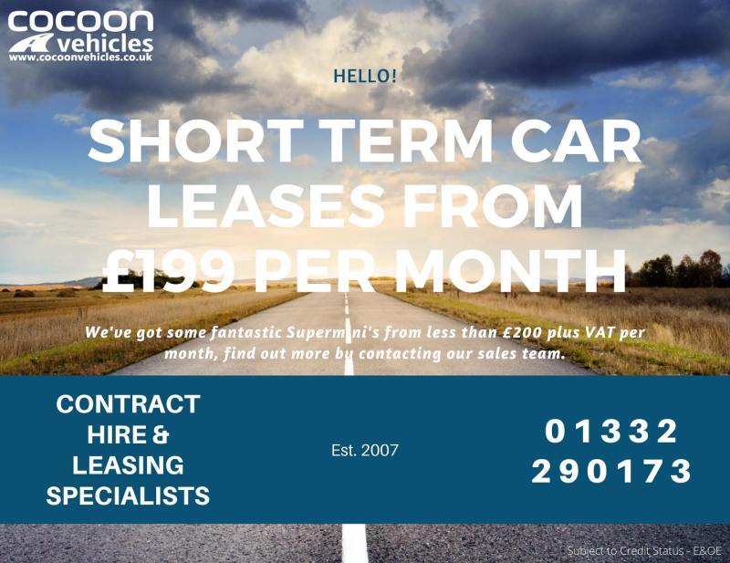 Short Term Car Lease's from £199 plus VAT per month! Call the team on 01332 290173 for more information!
