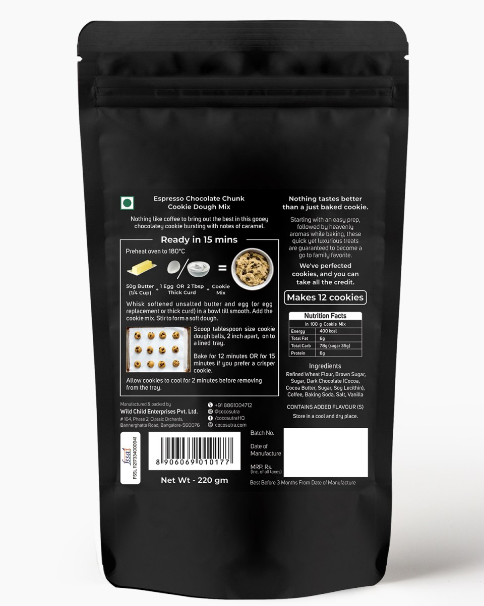 Espresso Chocolate Chunk Cookie Dough Mix - Back - Nutrition & Prep Instructions - 100% Natural & Vegan - Cocosutra