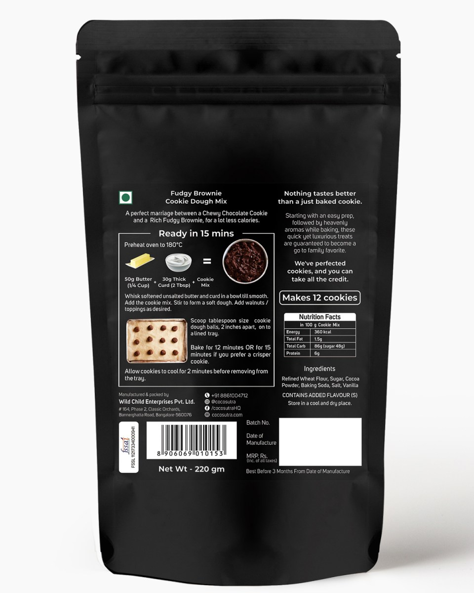Fudgy Brownie Cookie Dough Mix - Back - Nutrition & Prep Instructions - 100% Natural & Vegan - Cocosutra