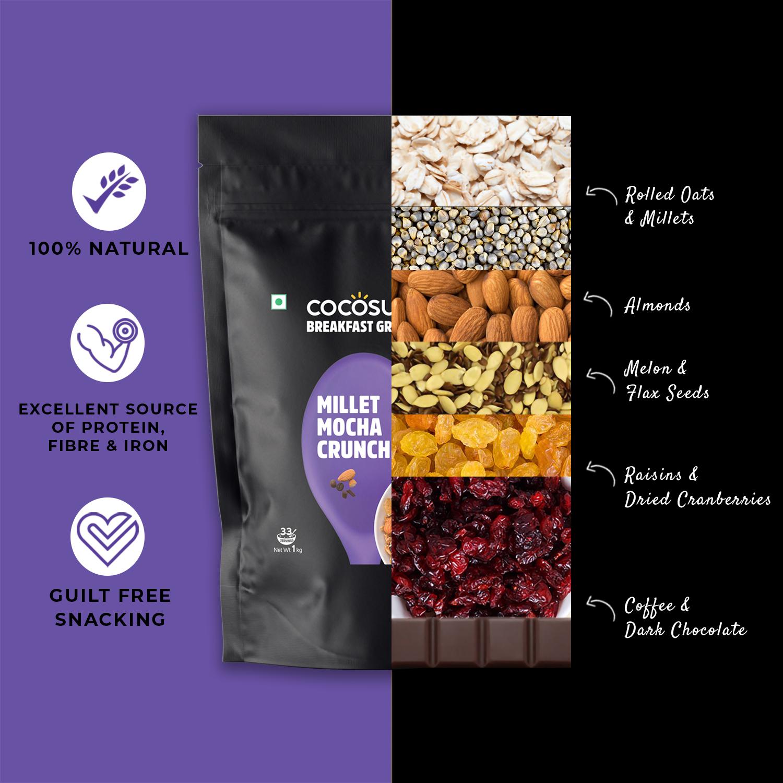 Millet Mocha Crunch Granola 1kg - Healthy Breakfast Cereal & Snack - Natural Ingredients