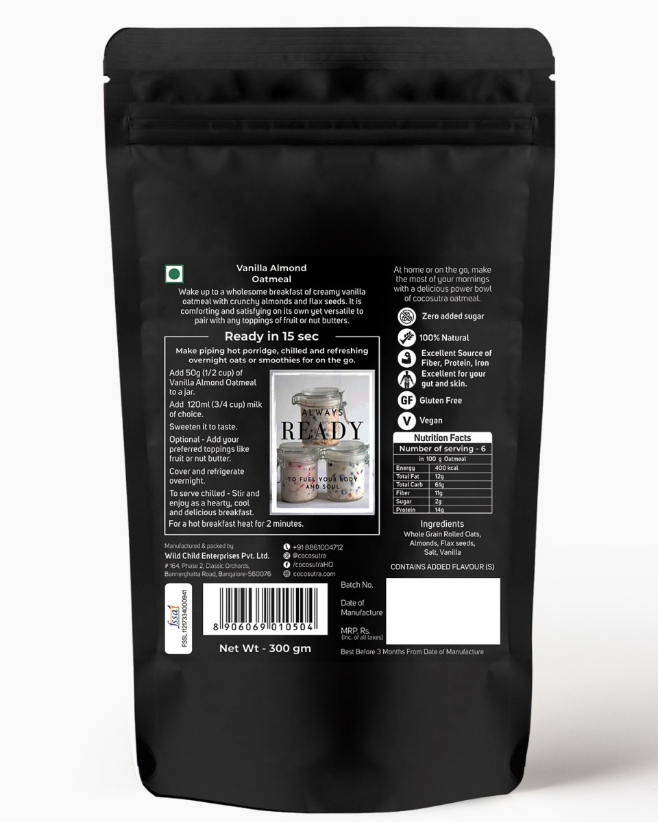 Cocosutra Vanilla Almond Oatmeal - Back - Nutrition & Instructions - Gluten free Rolled Oats