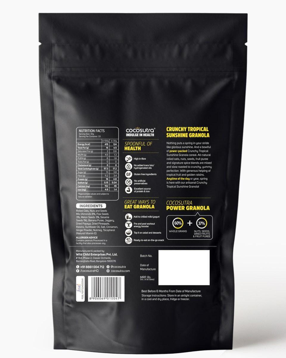 Crunchy Tropical Sunshine 1kg - Back - Nutrition & Ingredients - Healthy Breakfast Cereal & Snack
