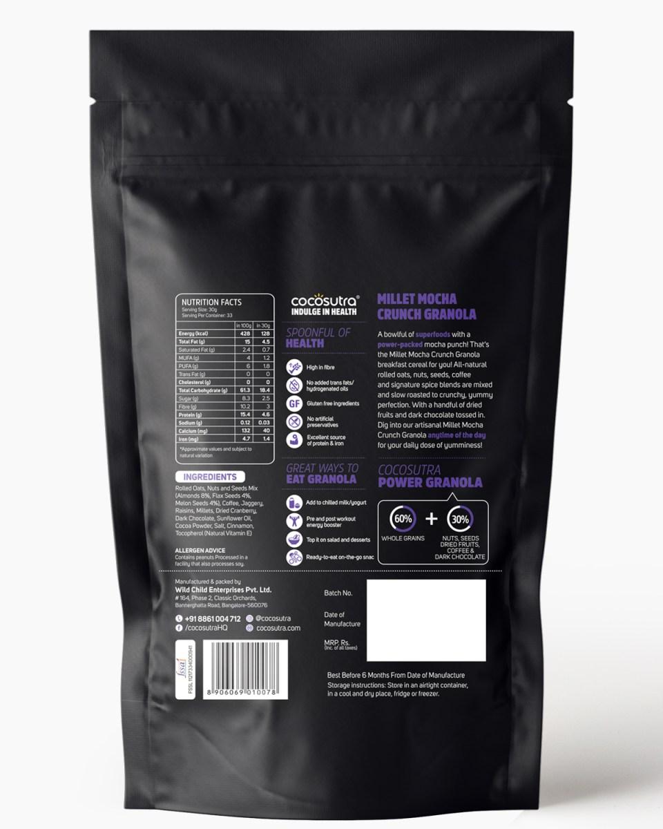 Millet Mocha Crunch 1kg - Back - Nutrition & Ingredients - Healthy Breakfast Cereal & Snack