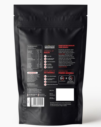 Peanut Butter Chocolate Chunk Granola 1kg - Back - Nutrition & Ingredients - Healthy Breakfast Cereal & Snack