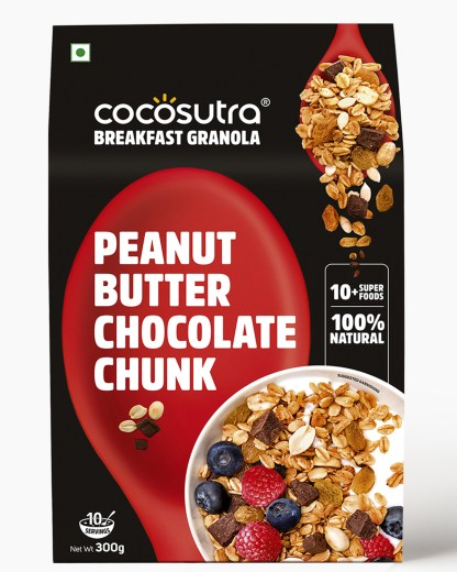 Peanut Butter Chocolate Chunk Granola 300g - Front - Healthy Breakfast Cereal & Snack