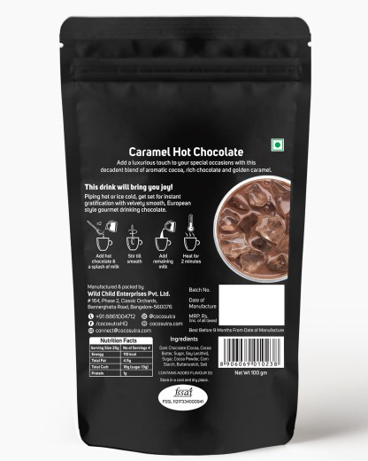 Cocosutra Caramel Hot Chocolate Mix 100g - Back - Best for Hampers & Gifts
