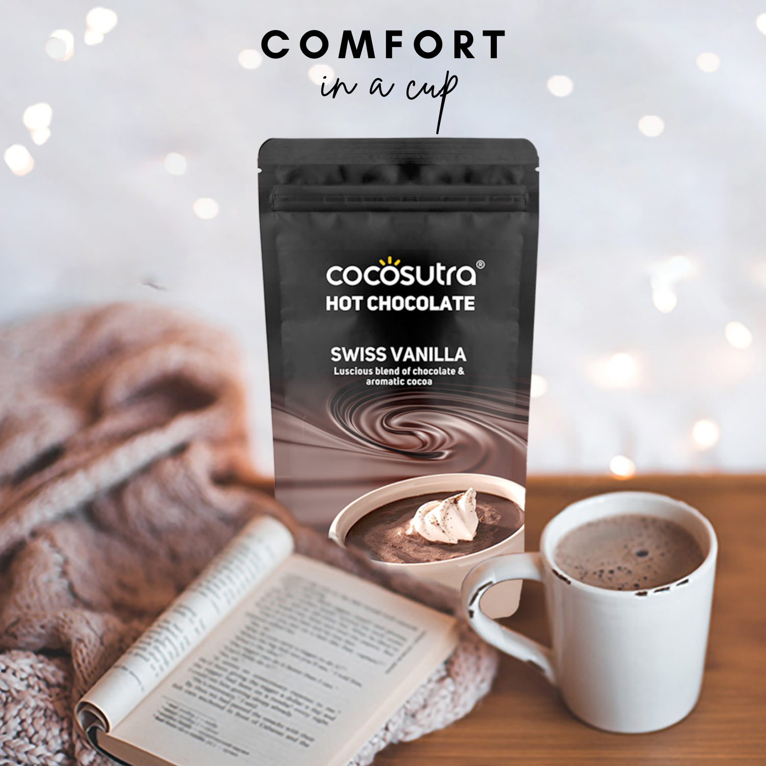 Cocosutra Swiss Vanilla Hot Chocolate Mix - Best for Hampers & Gifts