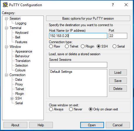 Raspberry SSH avec Pytty pas a pas