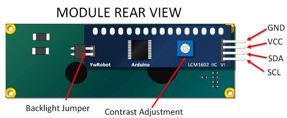 potentiomètre intégré LCM 1602 IIC